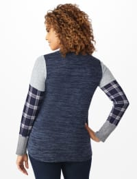 Westport Plaid Cuff Hacci Sweater Knit Top - Navy Heather - Back
