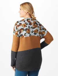 Floral Hacci Mix Media Twist Front - Plus - Spiced/Charcoal Grey - Back