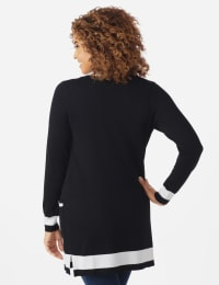 Roz & Ali Colorblock Duster Cardigan - Misses - Black/Vanilla Ice - Back