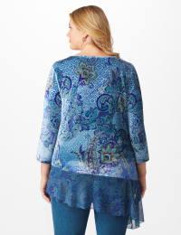 Velvet Asymmetrical Hem Knit Top - Plus - Back