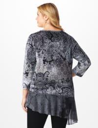 Velvet Asymmetrical Hem Knit Top - Plus - Grey - Back