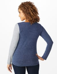 X Front Hacci Color Block Top - Misses - Blue - Back