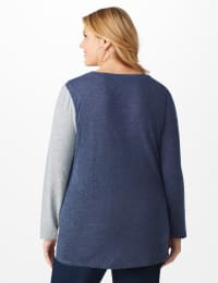 X-Front Hacci Color Block Top - Plus - Blue - Back