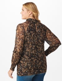 Roz & Ali Foil Paisley Smocked Neck Blouse - Plus - Taupe/Gold - Back