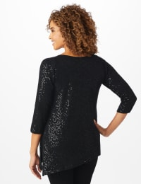 Roz & Ali Cold Shoulder Sequin Tunic Knit Top - Black - Back
