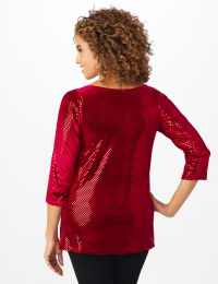 Roz & Ali Velvet Shimmer Dot Tunic Knit Top - Red - Back