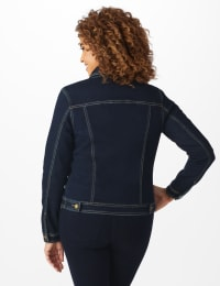 Westport Stretch Denim Button Front Jean Jacket - Dark Denim - Back