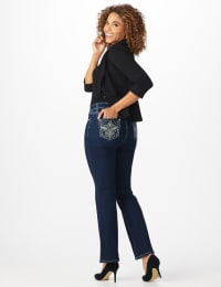 Westport Signature 5 pocket Bootcut Jean with Fleur-de-lis Pattern Bling Back Pocket - Misses - Rinse - Back