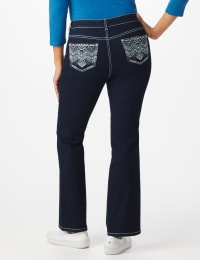Westport Signature 5 Pocket  Bootcut Jean with Chevron Pattern Bling Back Pocket - Dark Wash - Back
