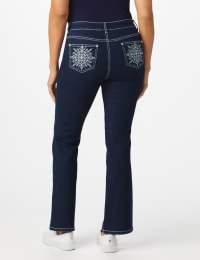Westport  Signature 5 Pocket Bootcut Jean with Starburst Pattern Bling Back Pockets - Misses - Dark Wash - Back