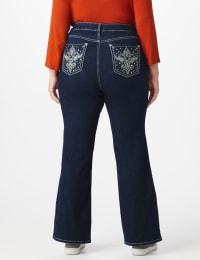 Plus Westport Signature 5 Pocket Bootcut Jean with Fleur-de- lis Bling Back Pocket  - Plus - Rinse - Back