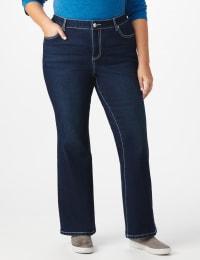 Plus Westport Signature  5 Pocket Bootcut Jean  with Starburst Bling Back Pocket Detail - Plus - Back