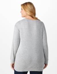 DB Sunday Cascade Sequin Hacci Sweater Knit Top - Plus - Back