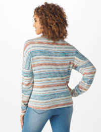 Textured Stripe Tie Front Knit Top - Blue - Back