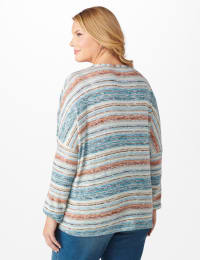 Textured Stripe Tie Front Knit Top - Plus - Blue - Back
