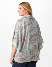 Cowl Neck Floral Knit Top - Plus - Sage - Back