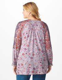 Print Mix Peasant Knit Top - Plus - Back