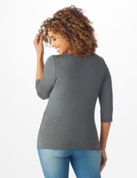 Westport Embellished Knot Front Knit Top - Grey - Back
