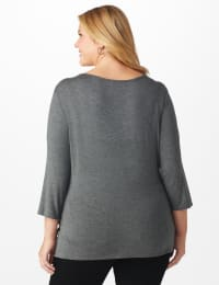 Westport Embellished Knot Front Knit Top - Plus - Grey - Back