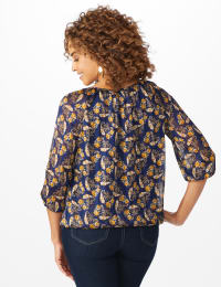 Westport Lurex Bubble Hem Blouse - Navy/Gold - Back