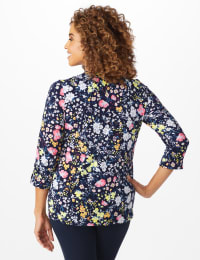 Roz & Ali Multi Color Floral Popover - Navy - Back