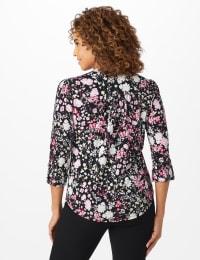 Roz & Ali Floral Bouquet Pintuck Popover - Black/Pink - Back