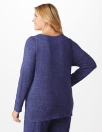 DB Sunday Sweater Knit Marilyn Neck Top - Plus - Navy - Back