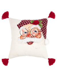 """Christmas Santa Face 20""""x20"""" Red Cotton Pillow Cover - White - Back"""