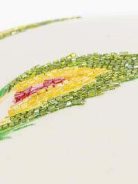 """Artichoke Motif 14""""x26"""" Green/Natural Cotton Poly Filled Pillow - Back"""