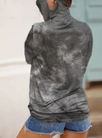 """""""Never Forget Your Mask"""" Tie-Dye Print Fashion Top - Black/Grey - Back"""
