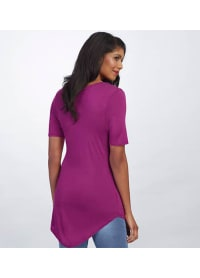 Basic V-Neck Long Tee - Berry - Back