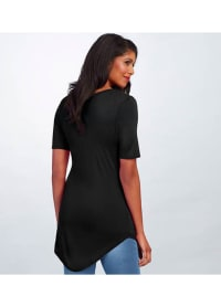 Basic V-Neck Long Tee - Black - Back