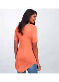 Basic V-Neck Long Tee - Coral - Back