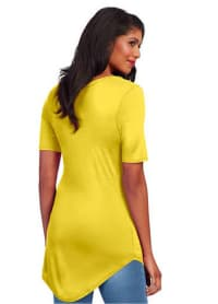 Basic V-Neck Long Tee - Yellow - Back
