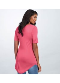 Basic V-Neck Long Tee - Pink - Back