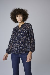 Westport Ditsy Ruffle Neck Blouse - Navy - Back