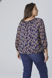 Westport Lurex Bubble Hem Blouse - Plus - Navy/Gold - Back