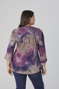 Roz & Ali Purple Tie Dye Jaquard Popover - Plus - Purple-Tan - Back
