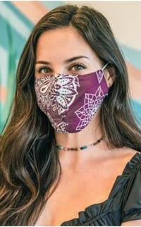 Burgundy Nose Wire Wide Print Face Mask - Burgundy - Back