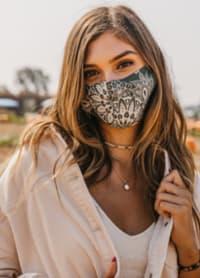 Olive Nose Wire Wide Print Face Mask - Olive Green - Back