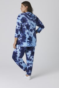 Tie Dye French Terry Lace Up Hoodie - Plus - Navy - Back