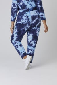 Tie Dye French Terry Jogger Pants - Plus - Navy - Back