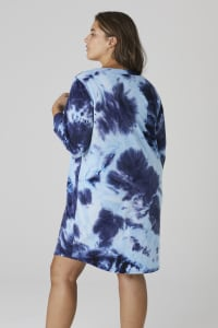 French Terry Tie Dye Dress - Plus - Navy - Back