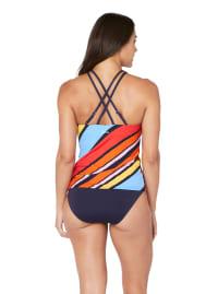 Nautica® Newport Stripe High Neck Tankini Swimsuit Top - Multi - Back