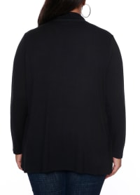 Grommet Pocket Shawl Cardigan - Black/Gold - Back