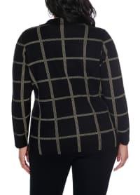 Plaid Sweater Jacket - Plus - Back