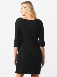 Faux Wrap Knit Dress - Black - Back