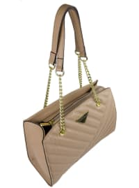 Ellen Tracy Quilted PU Double Handle Satchel W. Chain Handles - Natural - Back