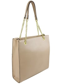 Ellen Tracy Quilted PU Shopper Tote W. Chain Handles - Natural - Back