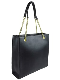 Ellen Tracy Quilted PU Shopper Tote W. Chain Handles - Black - Back